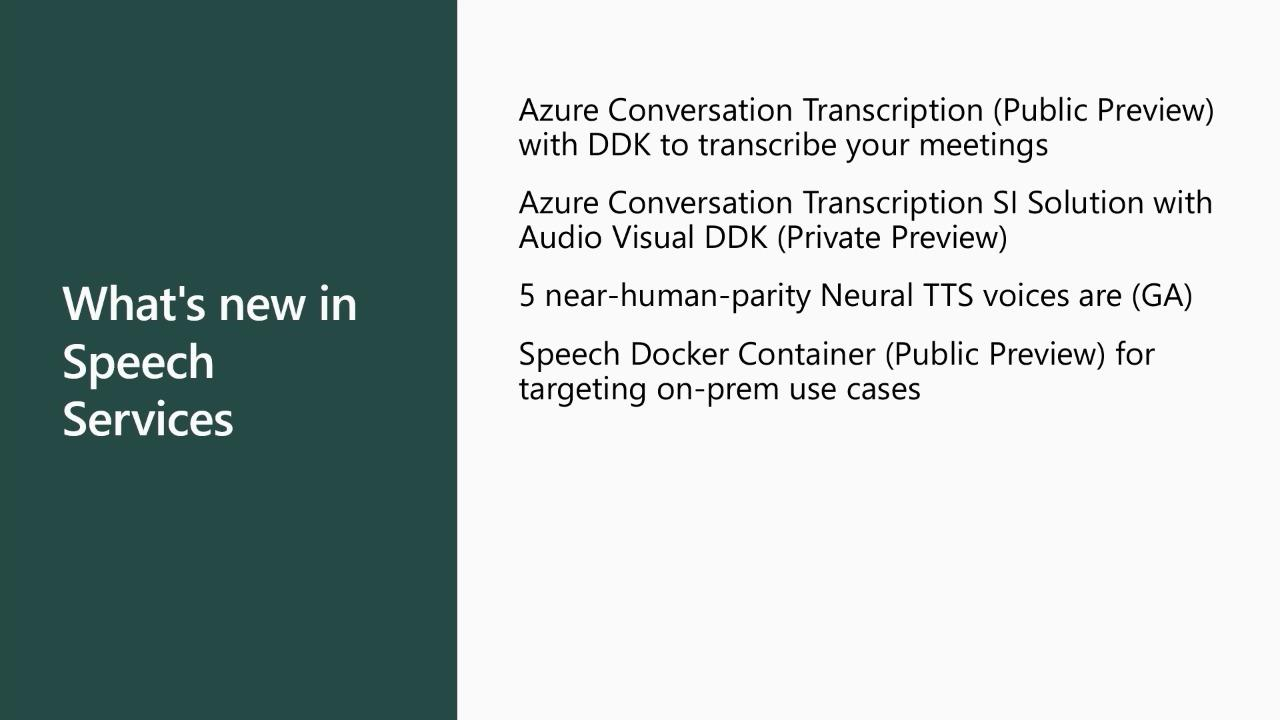 What's new in Speech Services and how to utilize them to build speech-enabled scenarios and solutions
